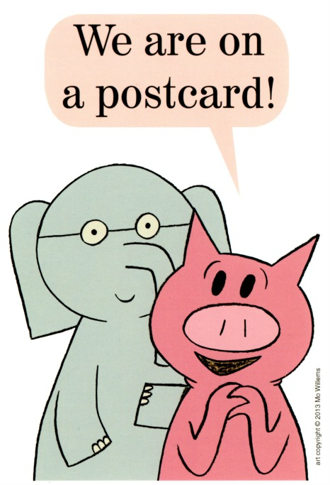 postcard toon Eric Carle Museum Elephant and Piggie we are on a postcard