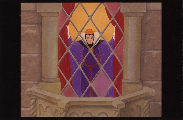 postcard toon Disney Evil Queen at window