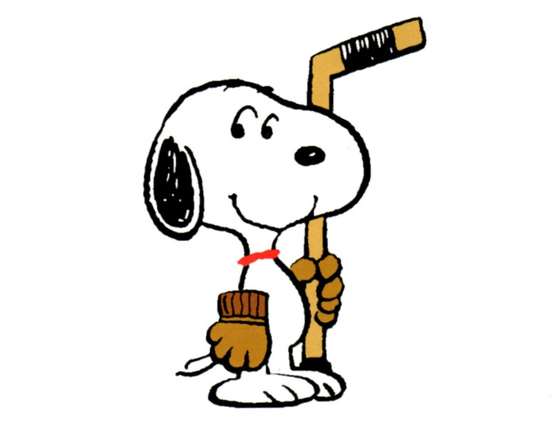 postcard toon Peanuts Snoopy hockey
