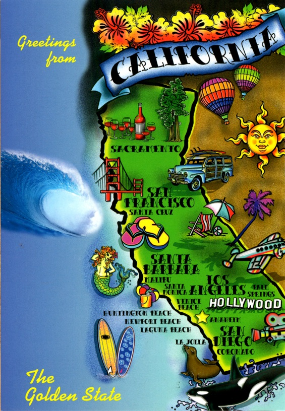 California Map Greetings from the Golden State w mermaid sea lion orca