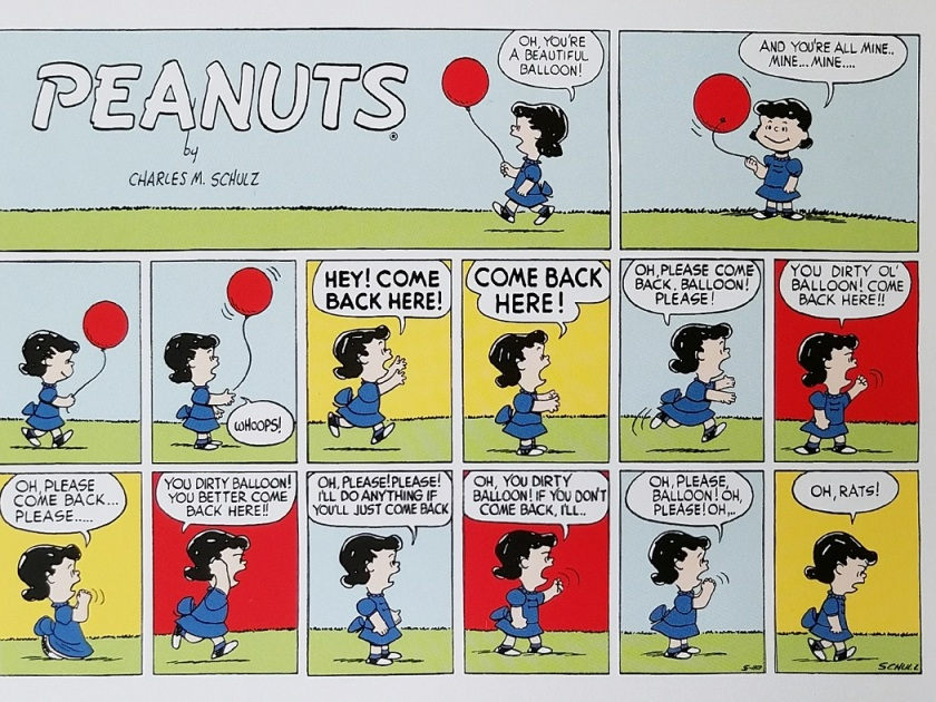 postcard toon Peanuts strip Lucy balloon